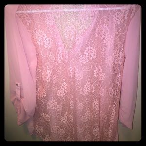 Really cute lace back top in light pink!